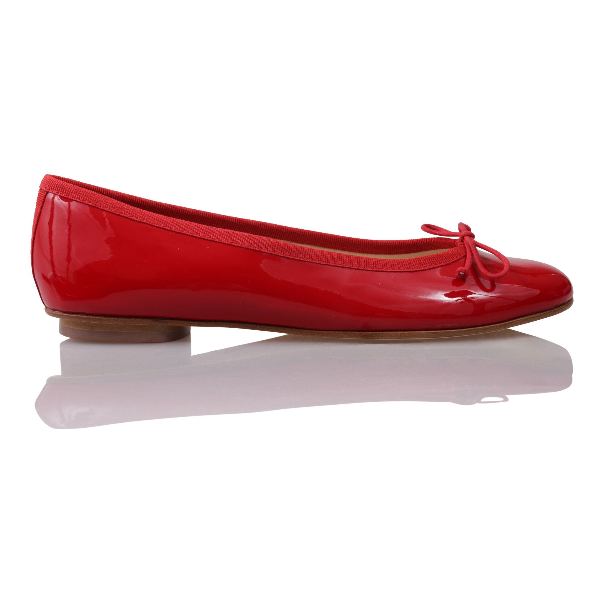 ROMA - Patent Rosso + Drawstring Rosso Bow, VIAJIYU - Women's Hand Made Sustainable Luxury Shoes. Made in Italy. Made to Order.