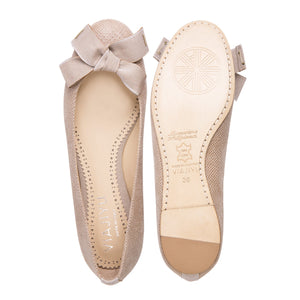 ROMA - Karung Tan + Grosgrain Bow, VIAJIYU - Women's Hand Made Sustainable Luxury Shoes. Made in Italy. Made to Order.