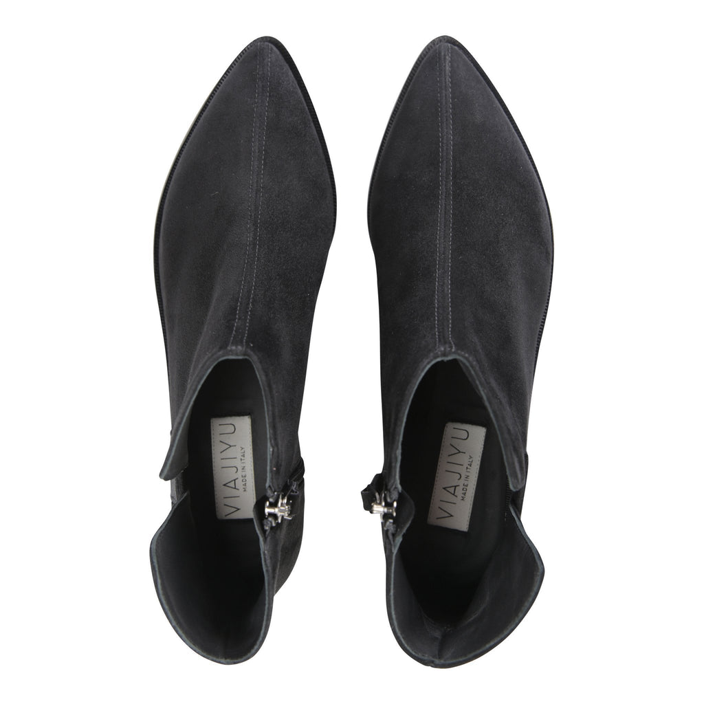 RAVELLO - Velukid Nero + Grosgrain, VIAJIYU - Women's Hand Made Sustainable Luxury Shoes. Made in Italy. Made to Order.
