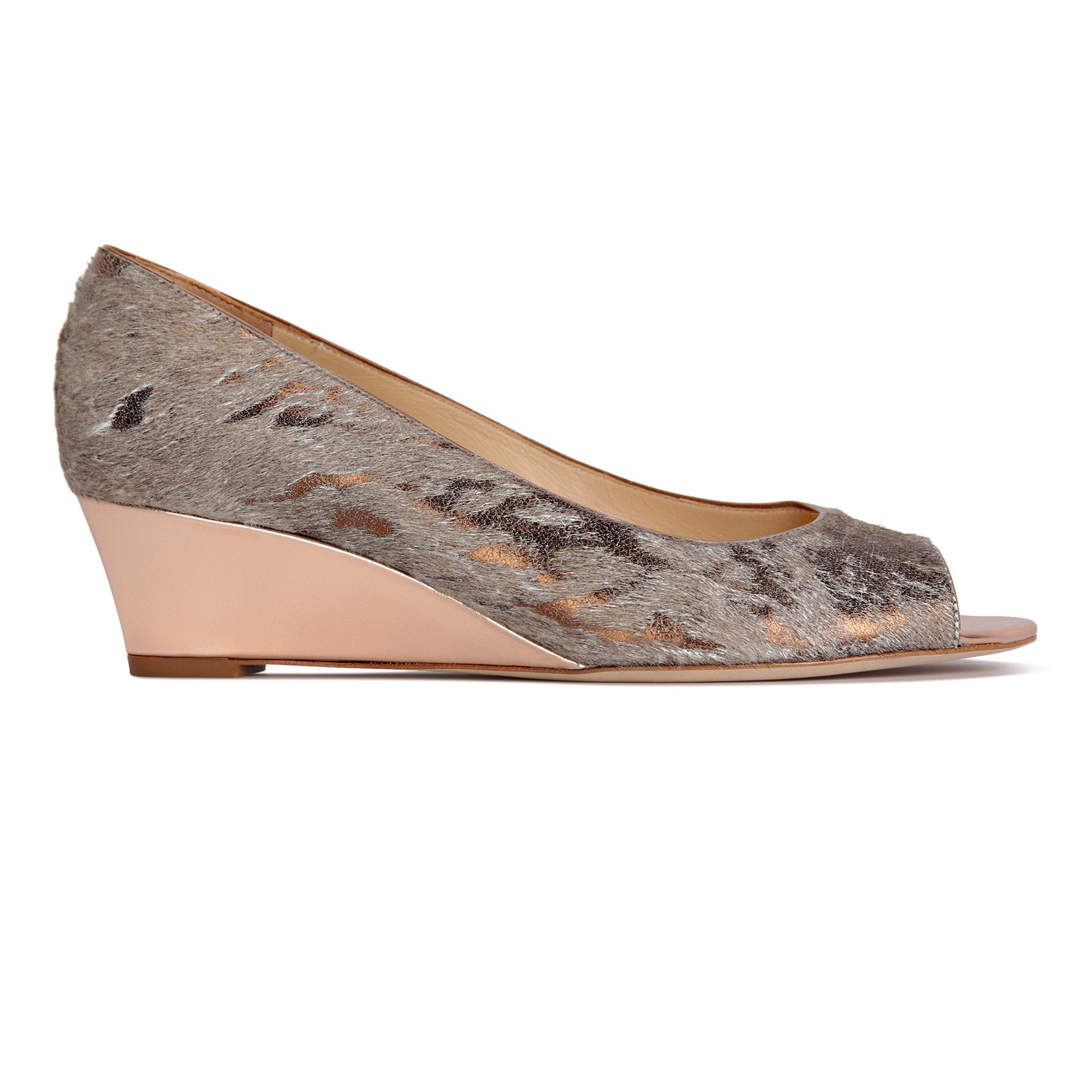 SARDINIA - Calf Hair Vintage Copper + Metallic Copper, VIAJIYU - Women's Hand Made Sustainable Luxury Shoes. Made in Italy. Made to Order.