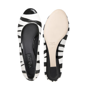 SARDINIA - Calf Hair Zebra + Patent Nero, VIAJIYU - Women's Hand Made Sustainable Luxury Shoes. Made in Italy. Made to Order.