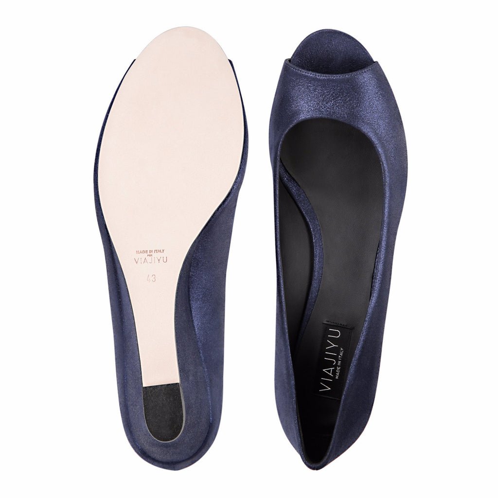 SARDINIA - Burma Midnight, VIAJIYU - Women's Hand Made Sustainable Luxury Shoes. Made in Italy. Made to Order.