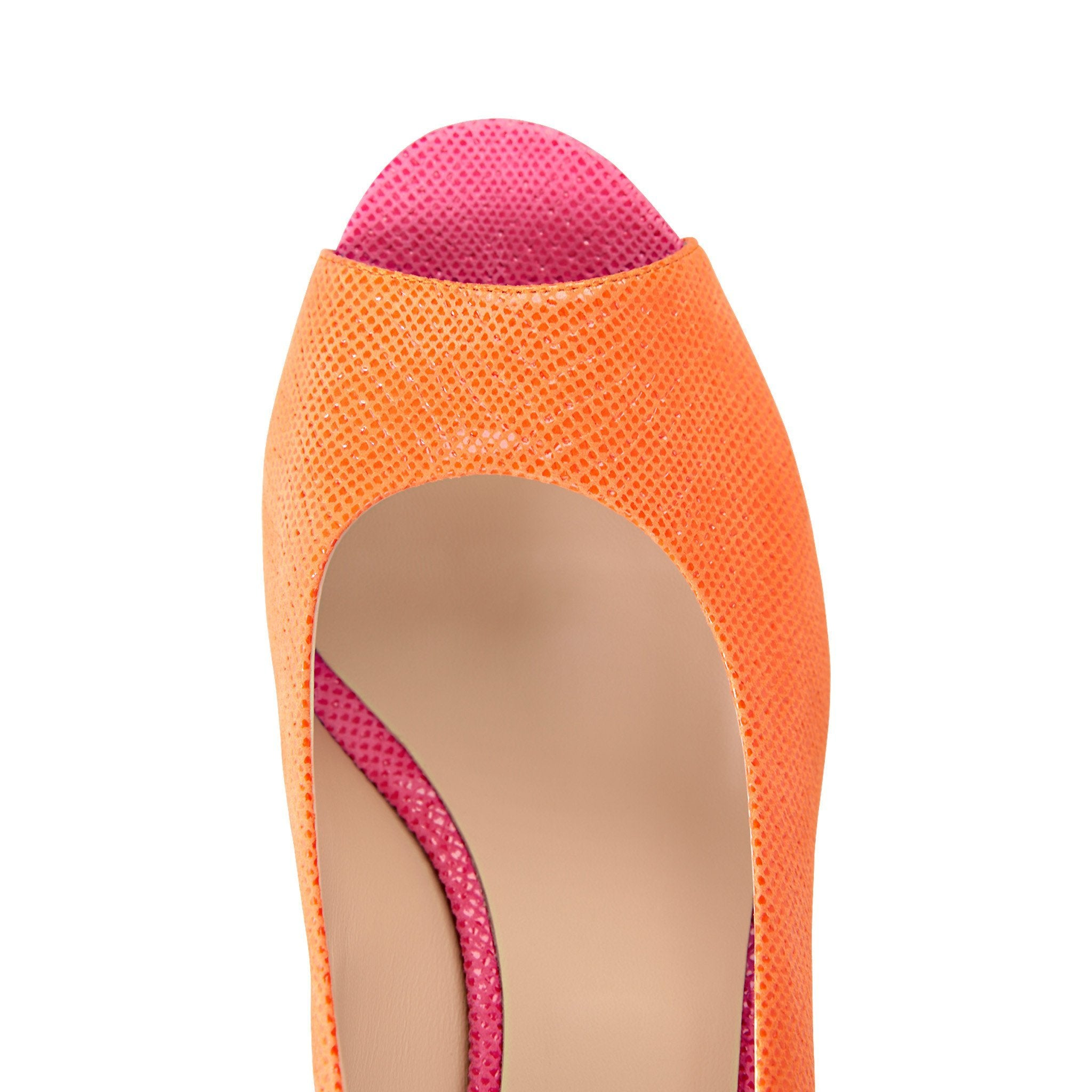 SARDINIA - Karung Mandarin + Epiphany Pink, VIAJIYU - Women's Hand Made Sustainable Luxury Shoes. Made in Italy. Made to Order.