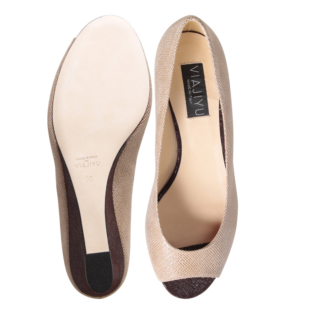 SARDINIA - Karung Tan + Karung Espresso, VIAJIYU - Women's Hand Made Sustainable Luxury Shoes. Made in Italy. Made to Order.