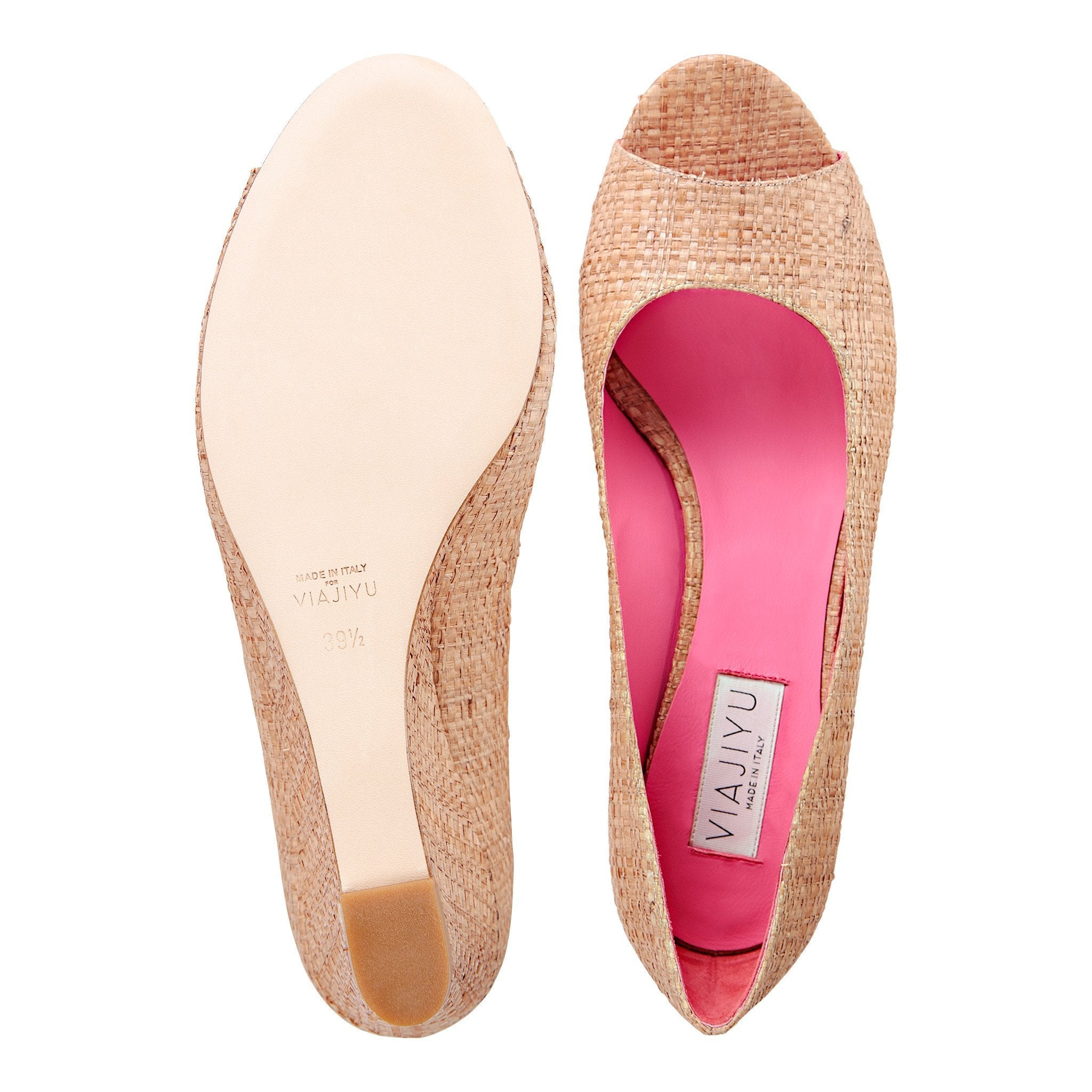 SARDINIA - Raffia Natural + Pink Inside, VIAJIYU - Women's Hand Made Sustainable Luxury Shoes. Made in Italy. Made to Order.