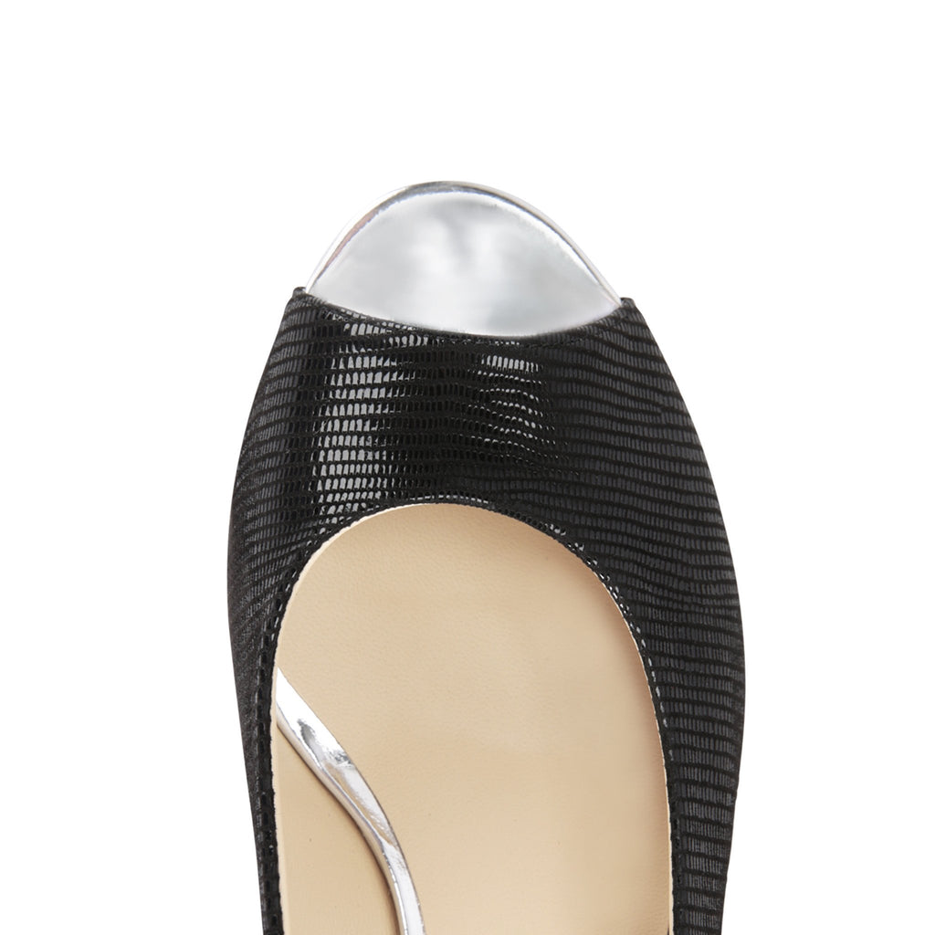 SARDINIA - Varanus Nero + Metallic Argento, VIAJIYU - Women's Hand Made Sustainable Luxury Shoes. Made in Italy. Made to Order.