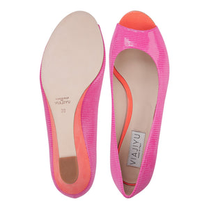 SARDINIA - Varanus Epiphany Pink + Mandarin, VIAJIYU - Women's Hand Made Sustainable Luxury Shoes. Made in Italy. Made to Order.