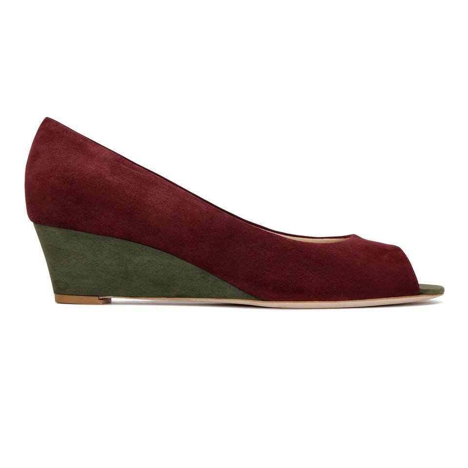 SARDINIA - Velukid Garnet + Velukid Moss, VIAJIYU - Women's Hand Made Sustainable Luxury Shoes. Made in Italy. Made to Order.