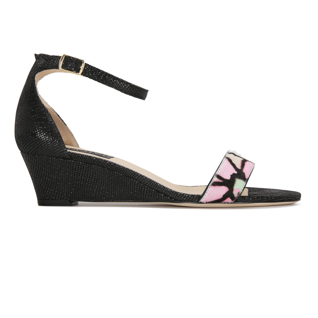 SAVONA - Calf Hair Fleur + Karung Nero, VIAJIYU - Women's Hand Made Sustainable Luxury Shoes. Made in Italy. Made to Order.