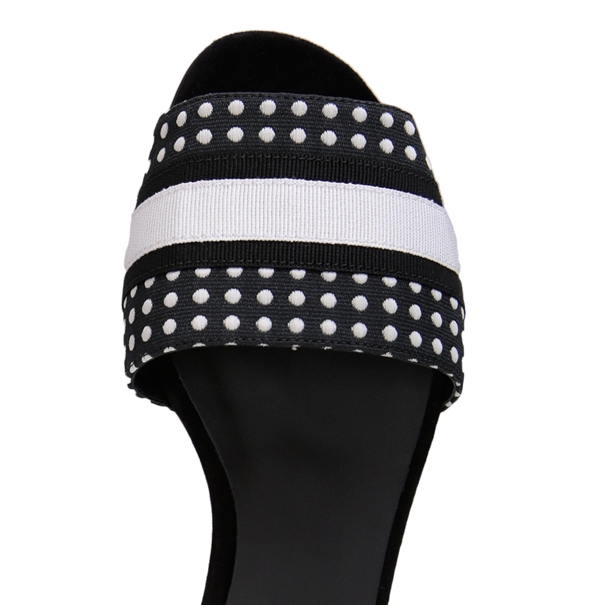 SICILY - Textile Polka Dot Black and White, VIAJIYU - Women's Hand Made Sustainable Luxury Shoes. Made in Italy. Made to Order.