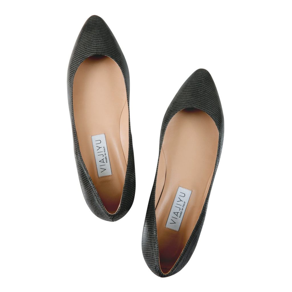 SIENA - Varanus Anthracite, VIAJIYU - Women's Hand Made Sustainable Luxury Shoes. Made in Italy. Made to Order.