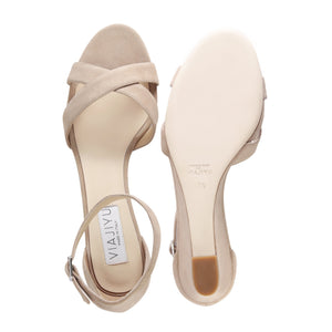 SORRENTO - Velukid Tan, VIAJIYU - Women's Hand Made Sustainable Luxury Shoes. Made in Italy. Made to Order.