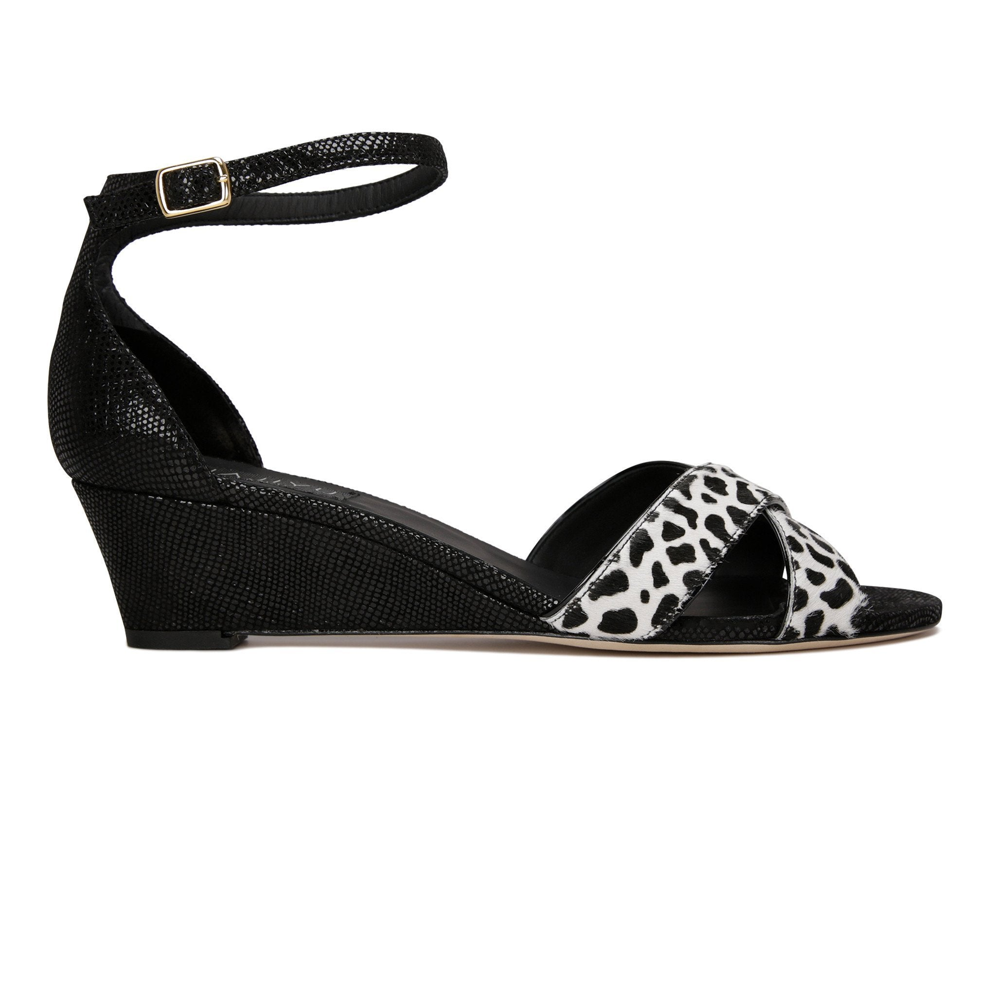 SORRENTO - Calf Hair Dalmation + Karung Nero, VIAJIYU - Women's Hand Made Sustainable Luxury Shoes. Made in Italy. Made to Order.