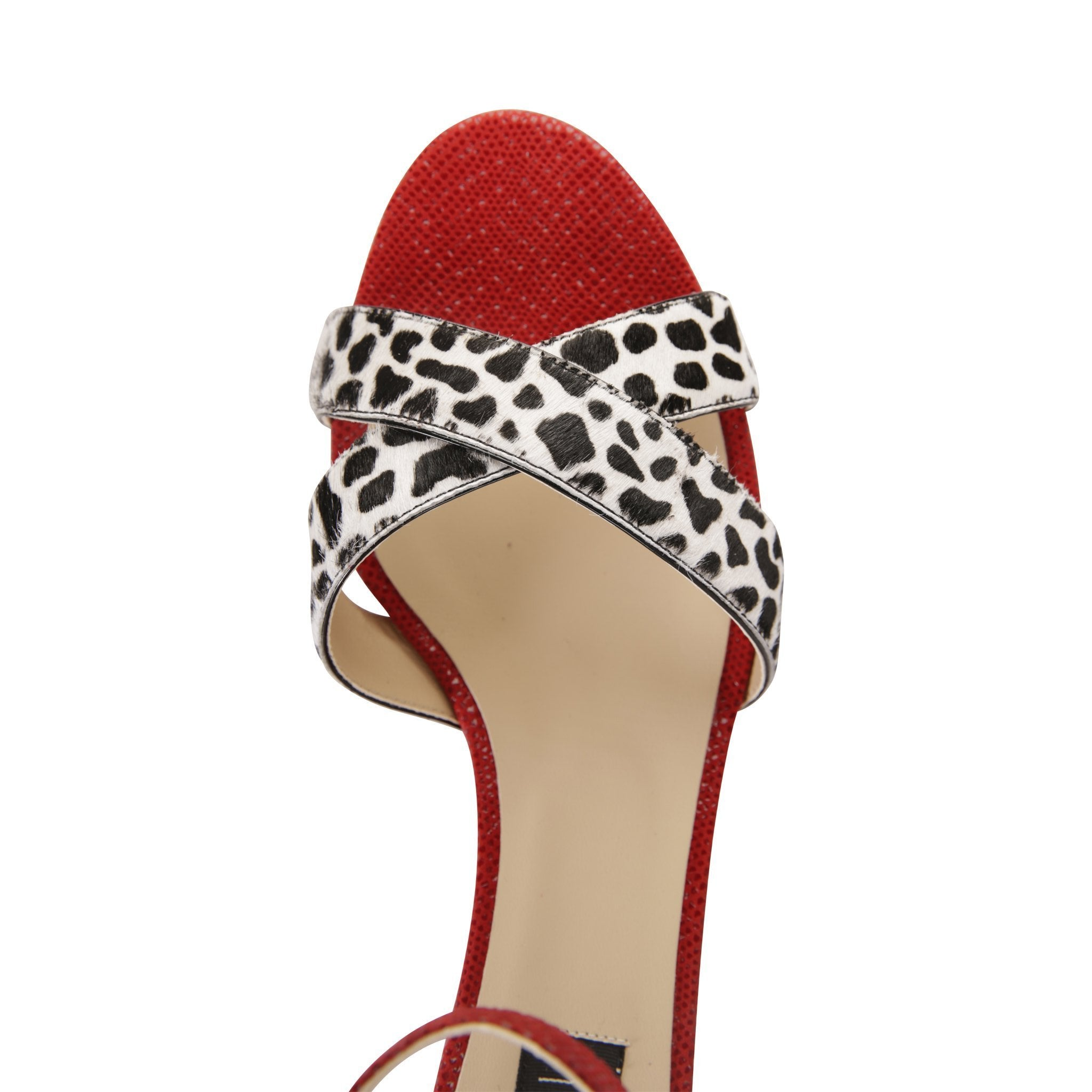 SORRENTO - Calf Hair Dalmation + Karung Rosso, VIAJIYU - Women's Hand Made Sustainable Luxury Shoes. Made in Italy. Made to Order.