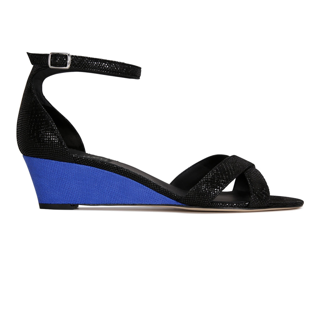 SORRENTO - Karung Nero + Karung Cobalt, VIAJIYU - Women's Hand Made Sustainable Luxury Shoes. Made in Italy. Made to Order.
