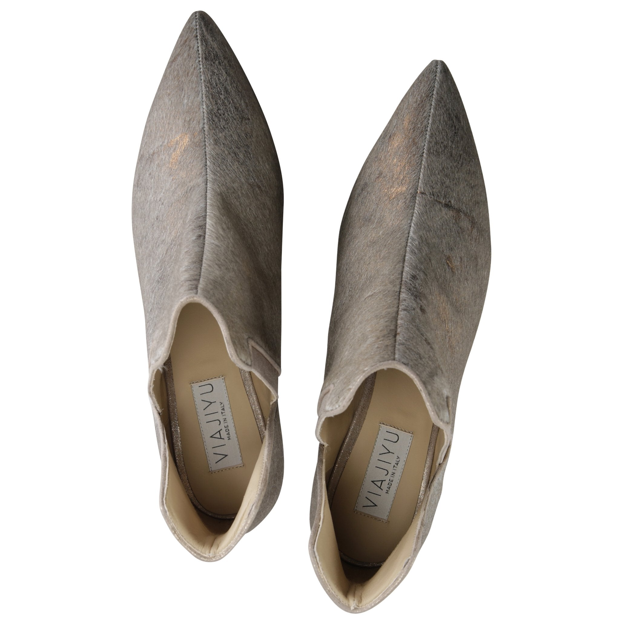 SYRENE - Calf Hair Vintage Copper + Burma Sabbia, VIAJIYU - Women's Hand Made Sustainable Luxury Shoes. Made in Italy. Made to Order.