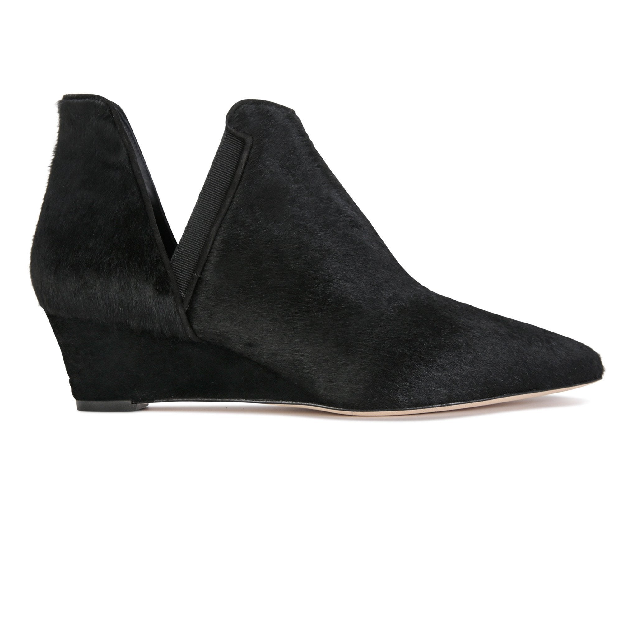 SYRENE - Calf Hair + Grosgrain Nero, VIAJIYU - Women's Hand Made Sustainable Luxury Shoes. Made in Italy. Made to Order.