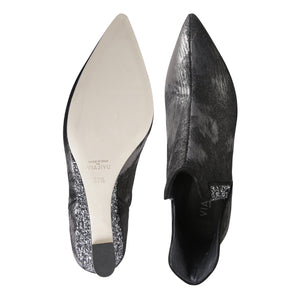 SYRENE - Calf Hair Vintage Nero + Glitter Notte, VIAJIYU - Women's Hand Made Sustainable Luxury Shoes. Made in Italy. Made to Order.