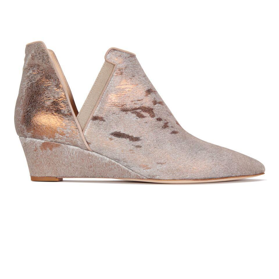 SYRENE - Calf Hair Vintage Copper + Grosgrain Tortora, VIAJIYU - Women's Hand Made Sustainable Luxury Shoes. Made in Italy. Made to Order.