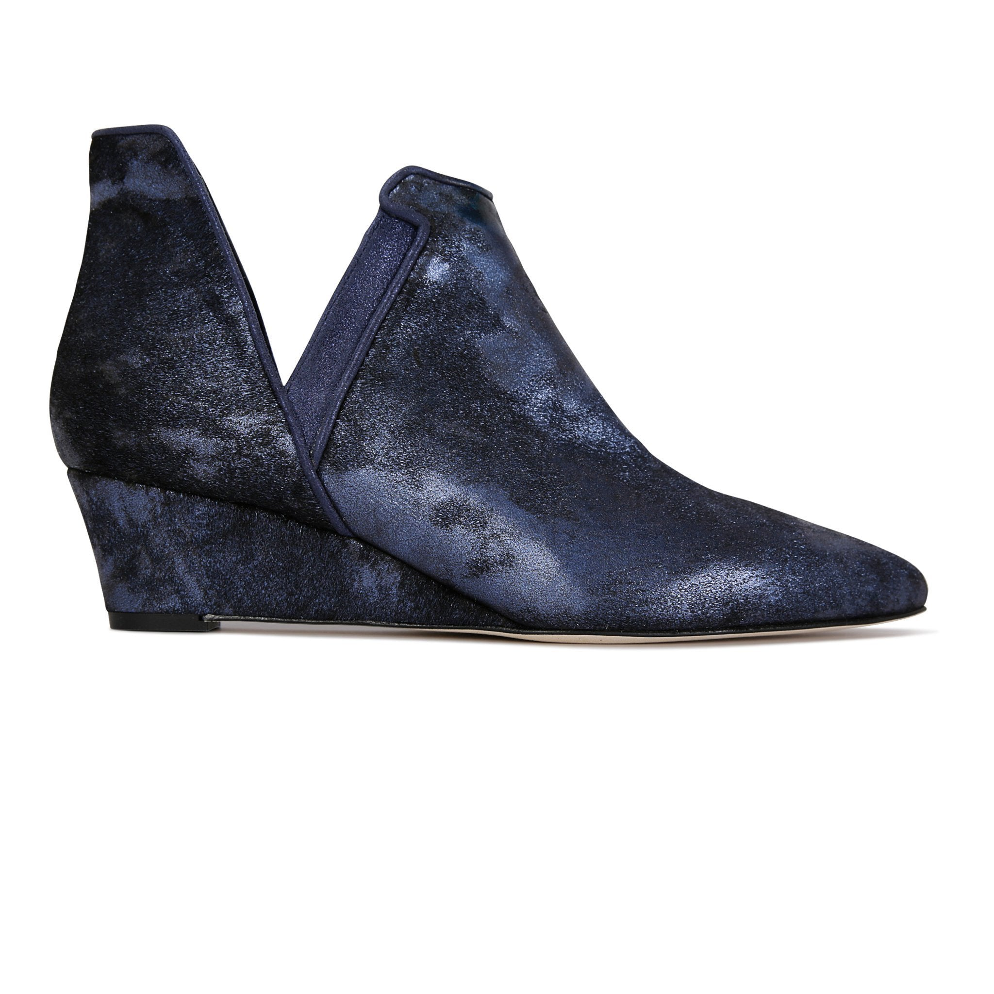 SYRENE - Calf Hair Vintage + Burma Midnight, VIAJIYU - Women's Hand Made Sustainable Luxury Shoes. Made in Italy. Made to Order.