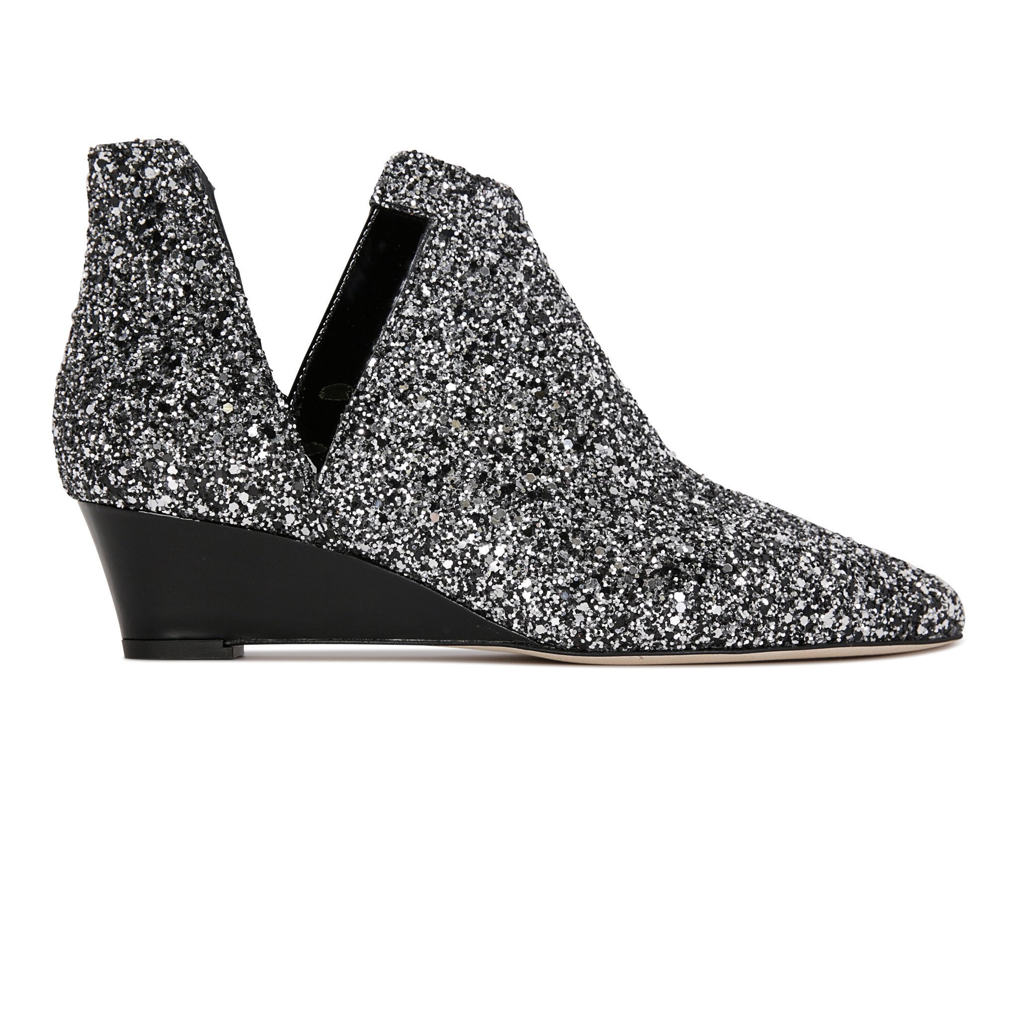 SYRENE - Glitter Notte + Patent Nero, VIAJIYU - Women's Hand Made Sustainable Luxury Shoes. Made in Italy. Made to Order.