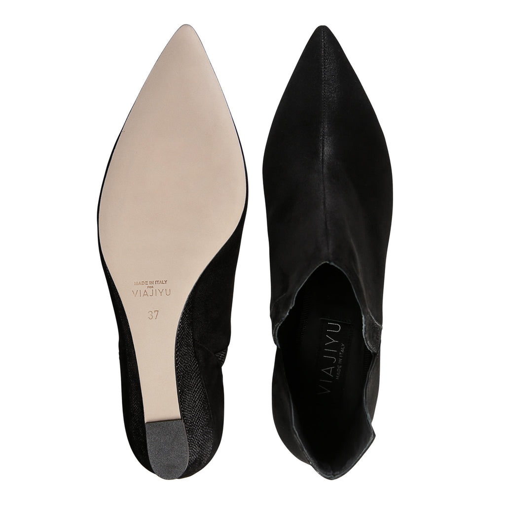 SYRENE - Hydra + Karung Nero, VIAJIYU - Women's Hand Made Sustainable Luxury Shoes. Made in Italy. Made to Order.