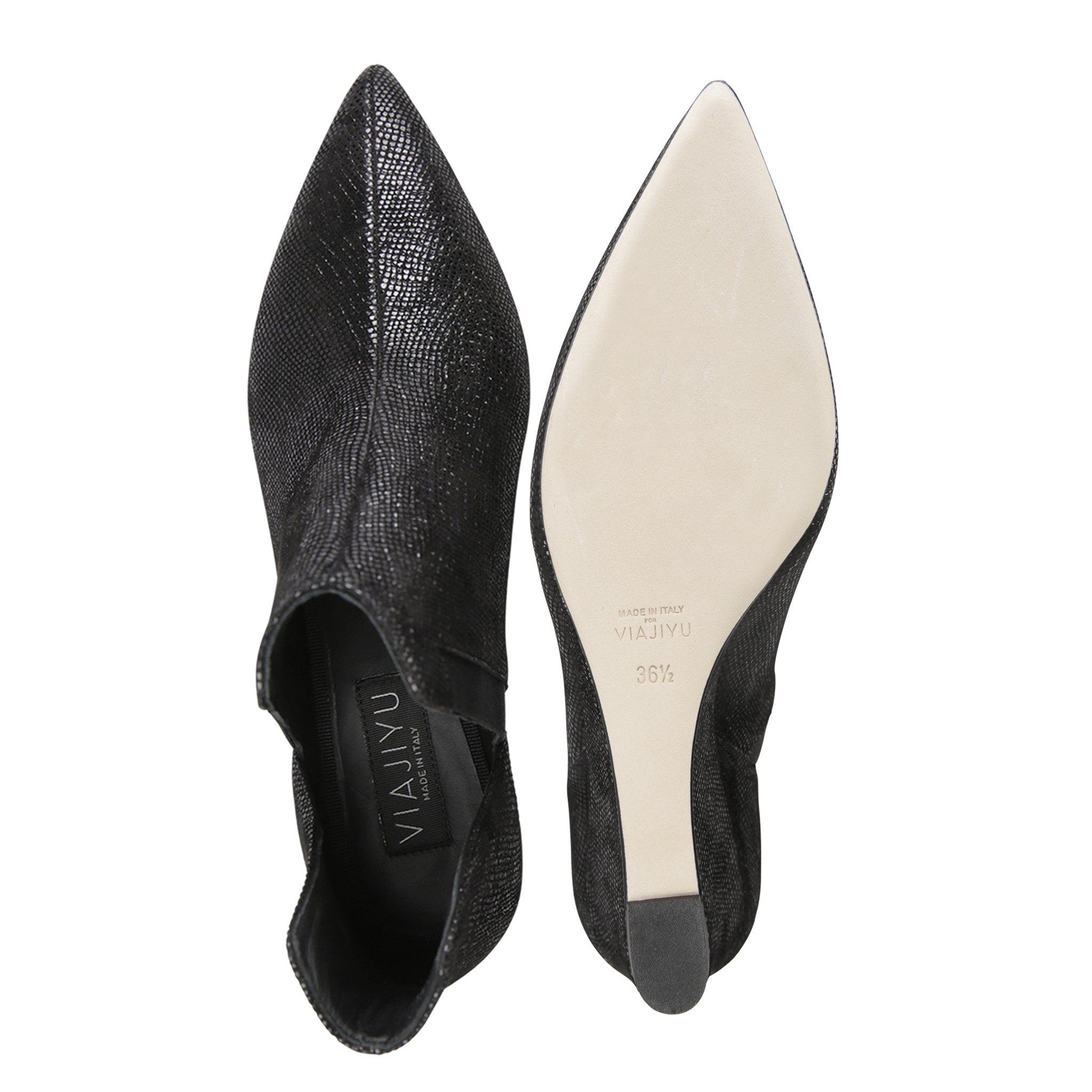 SYRENE - Karung Nero + Grosgrain Nero, VIAJIYU - Women's Hand Made Sustainable Luxury Shoes. Made in Italy. Made to Order.