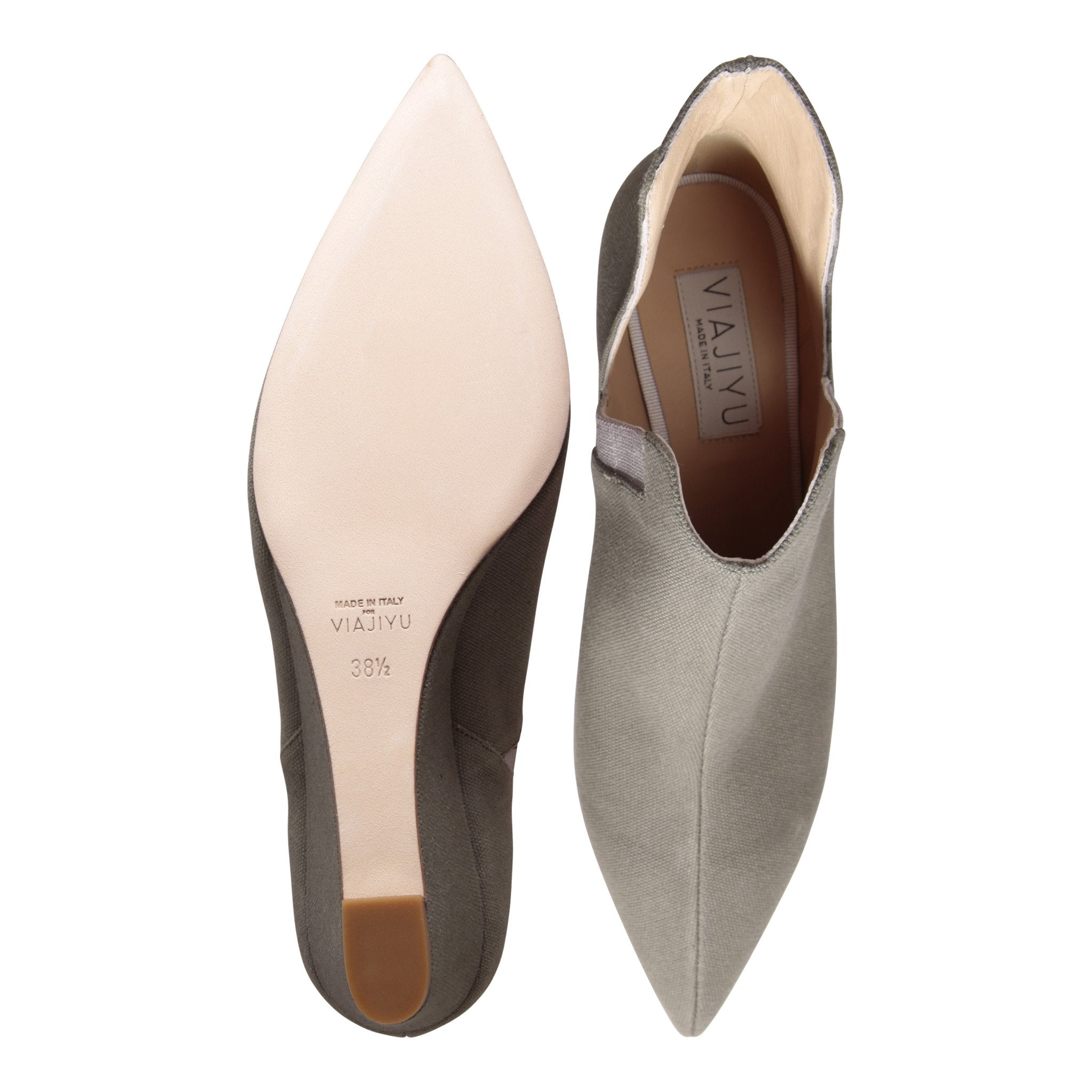 SYRENE - Canvas Fango + Grosgrain Burro, VIAJIYU - Women's Hand Made Sustainable Luxury Shoes. Made in Italy. Made to Order.