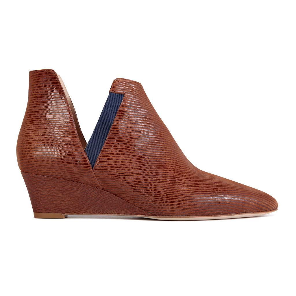 SYRENE - Varanus Dune + Grosgrain Navy, VIAJIYU - Women's Hand Made Sustainable Luxury Shoes. Made in Italy. Made to Order.
