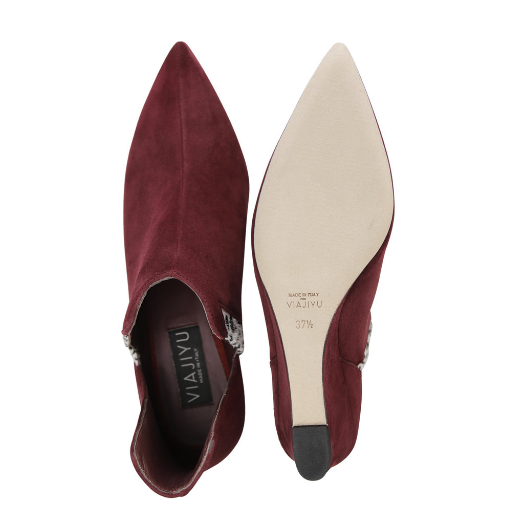 SYRENE - Velukid Garnet + Calf Hair Dalmatian, VIAJIYU - Women's Hand Made Sustainable Luxury Shoes. Made in Italy. Made to Order.