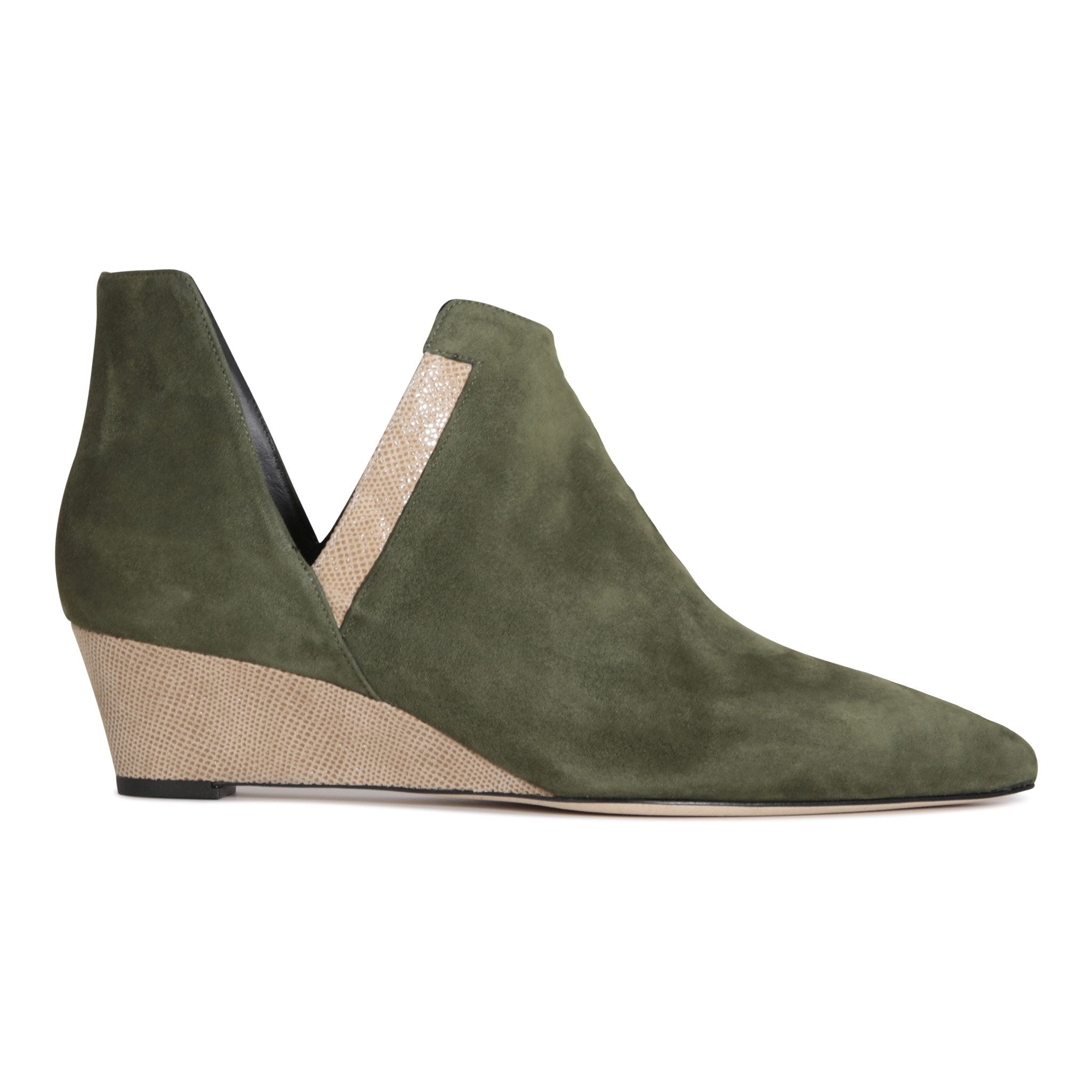 SYRENE - Velukid Moss + Karung Tan, VIAJIYU - Women's Hand Made Sustainable Luxury Shoes. Made in Italy. Made to Order.