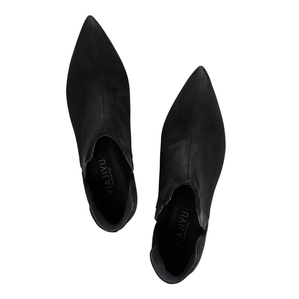 SYRENE - Velukid + Grosgrain Nero, VIAJIYU - Women's Hand Made Sustainable Luxury Shoes. Made in Italy. Made to Order.