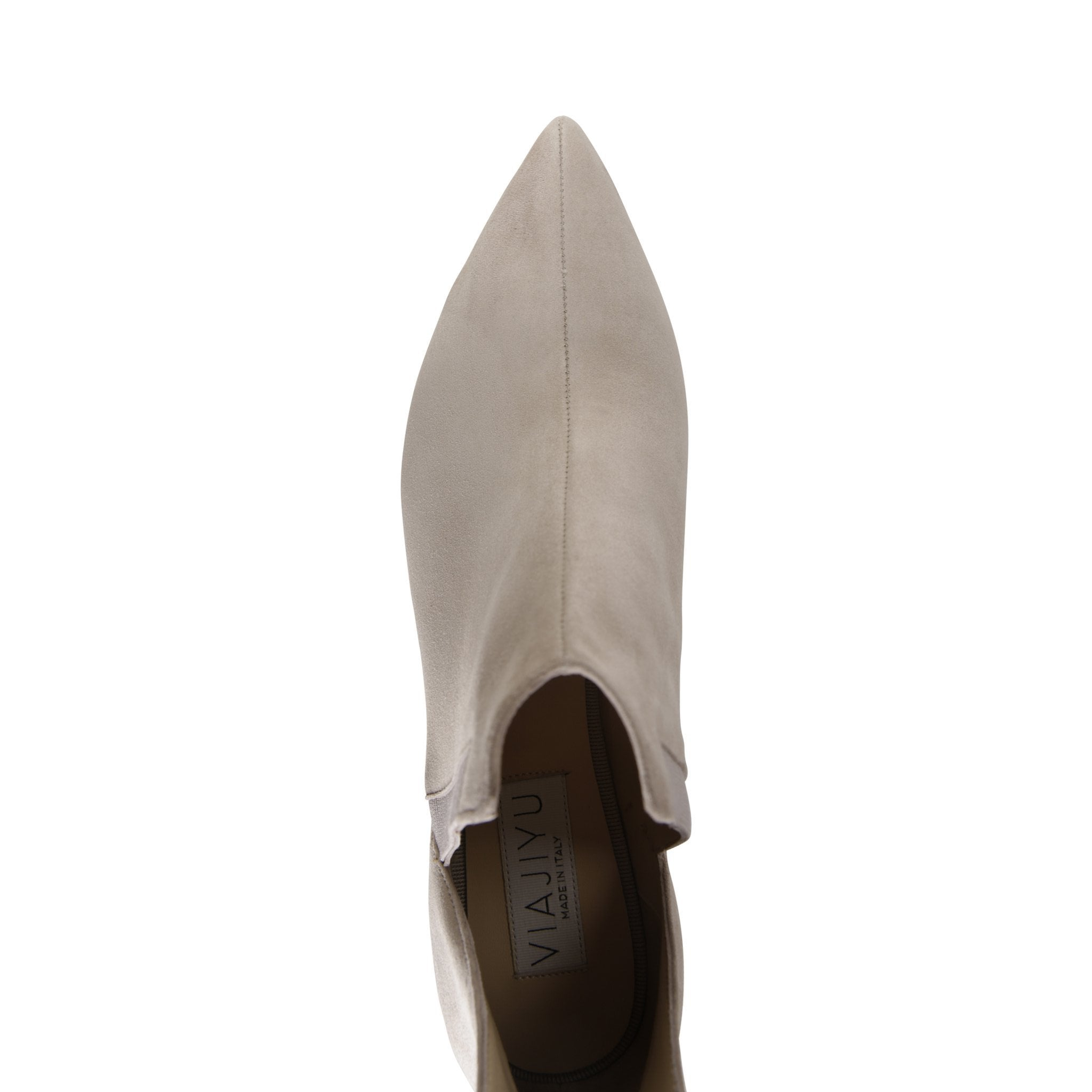 SYRENE - Velukid Tan + Grosgrain Cenere, VIAJIYU - Women's Hand Made Sustainable Luxury Shoes. Made in Italy. Made to Order.