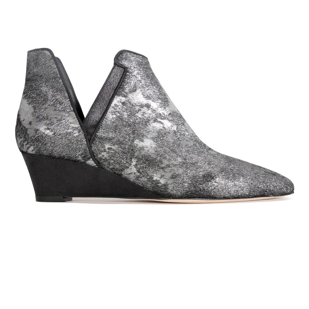 SYRENE - Vintage Silver + Burma Nero, VIAJIYU - Women's Hand Made Sustainable Luxury Shoes. Made in Italy. Made to Order.