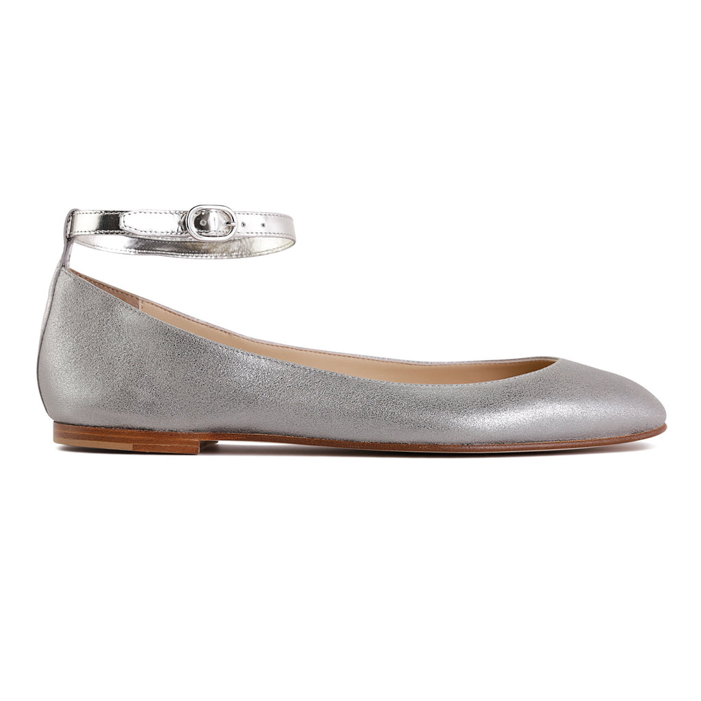 TORINO - Burma Pewter + Metallic Argento, VIAJIYU - Women's Hand Made Sustainable Luxury Shoes. Made in Italy. Made to Order.