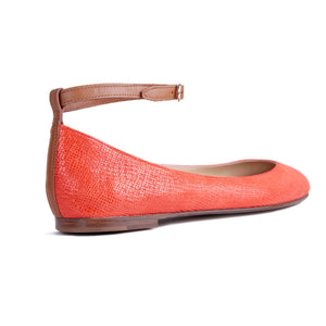 TORINO - Karung Tuscan Sunset + Calf Cuoio, VIAJIYU - Women's Hand Made Sustainable Luxury Shoes. Made in Italy. Made to Order.