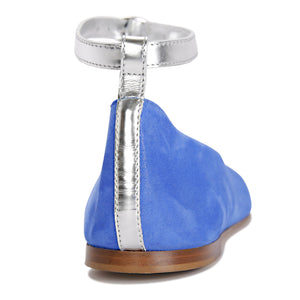 TORINO - Hydra Cobalt + Metallic Argento, VIAJIYU - Women's Hand Made Sustainable Luxury Shoes. Made in Italy. Made to Order.