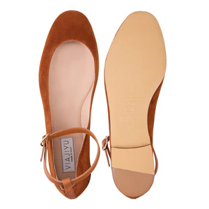 TORINO - Velukid Dune + Calf Cuoio, VIAJIYU - Women's Hand Made Sustainable Luxury Shoes. Made in Italy. Made to Order.