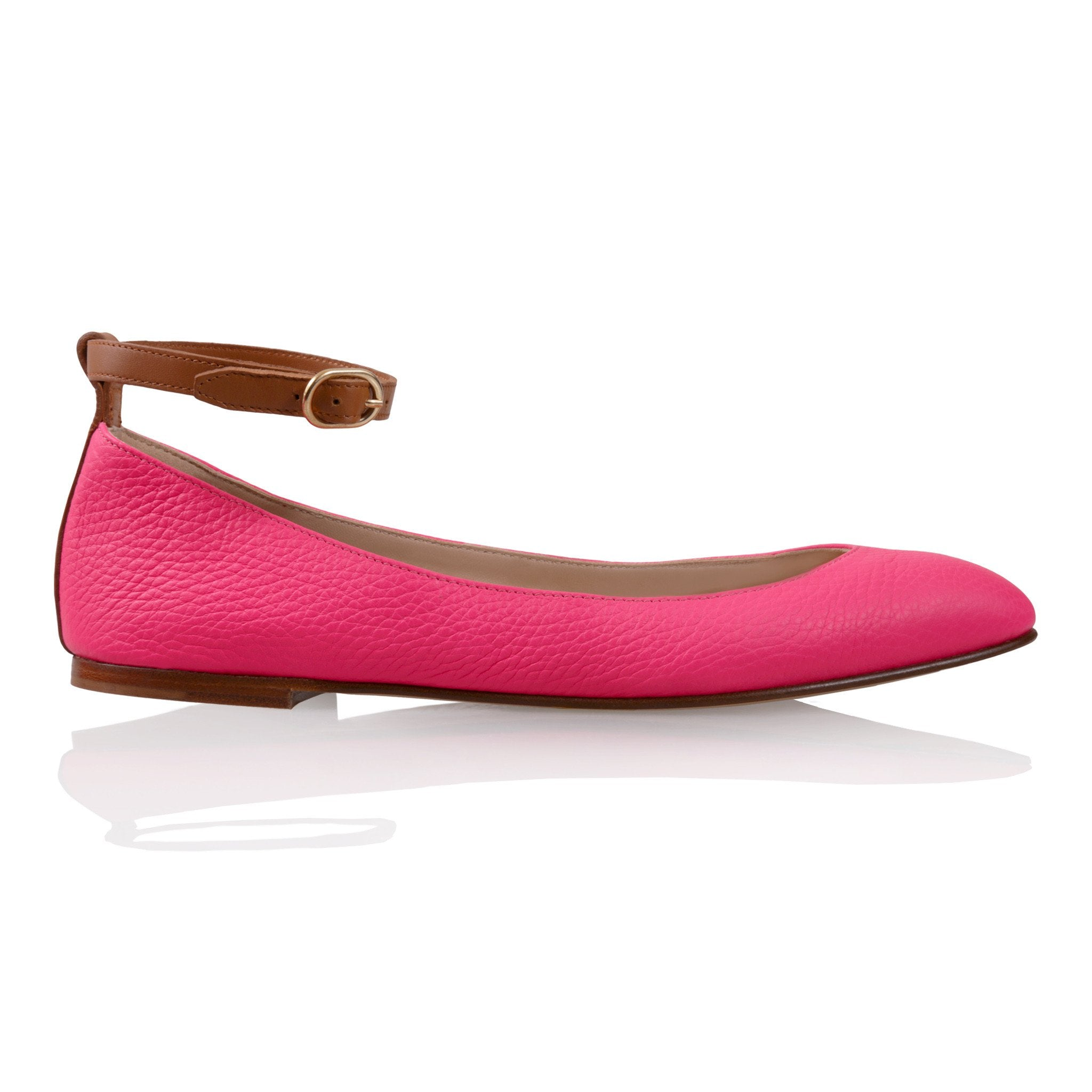 TORINO - Calf Fluoro Pink + Cuoio, VIAJIYU - Women's Hand Made Sustainable Luxury Shoes. Made in Italy. Made to Order.