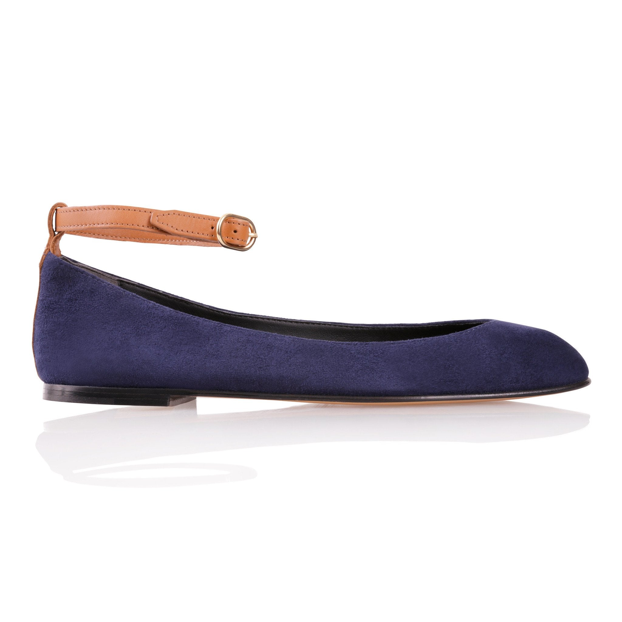 TORINO - Velukid Midnight + Calf Cuoio, VIAJIYU - Women's Hand Made Sustainable Luxury Shoes. Made in Italy. Made to Order.