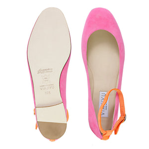 TORINO - Hydra Epiphany Pink + Mandarin, VIAJIYU - Women's Hand Made Sustainable Luxury Shoes. Made in Italy. Made to Order.