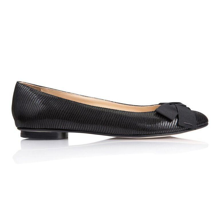 ROMA - Varanus Nero + Grosgrain Bow, VIAJIYU - Women's Hand Made Sustainable Luxury Shoes. Made in Italy. Made to Order.