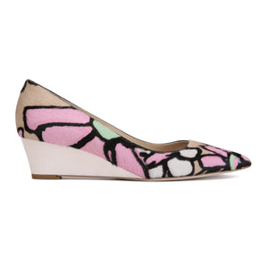 TRENTO - Calf Hair Fleur + Velukid Blush, VIAJIYU - Women's Hand Made Sustainable Luxury Shoes. Made in Italy. Made to Order.