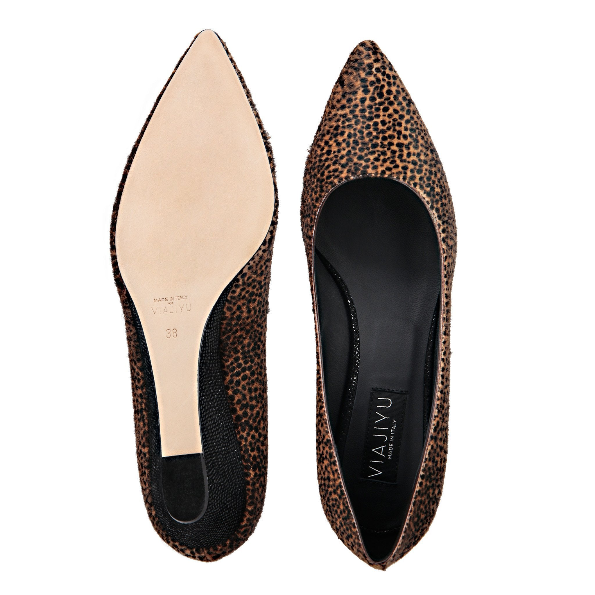 TRENTO - Calf Hair Orange Cheetah + Karung Nero, VIAJIYU - Women's Hand Made Sustainable Luxury Shoes. Made in Italy. Made to Order.