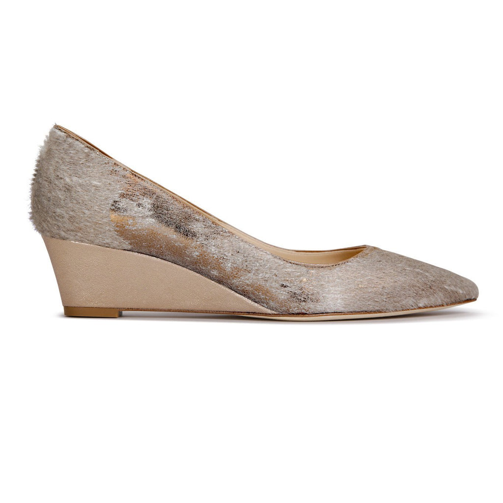 TRENTO - Calf Hair Vintage Copper + Burma Sabbia Rosata, VIAJIYU - Women's Hand Made Sustainable Luxury Shoes. Made in Italy. Made to Order.