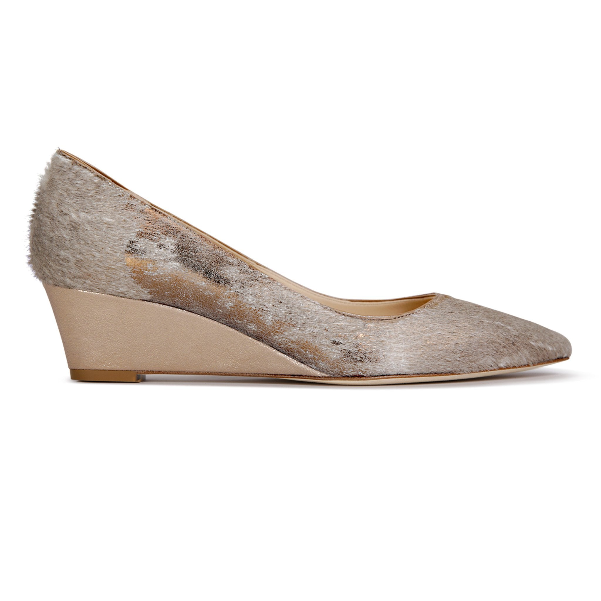 TRENTO - Calf Hair Vintage Copper + Burma Sabbia, VIAJIYU - Women's Hand Made Sustainable Luxury Shoes. Made in Italy. Made to Order.