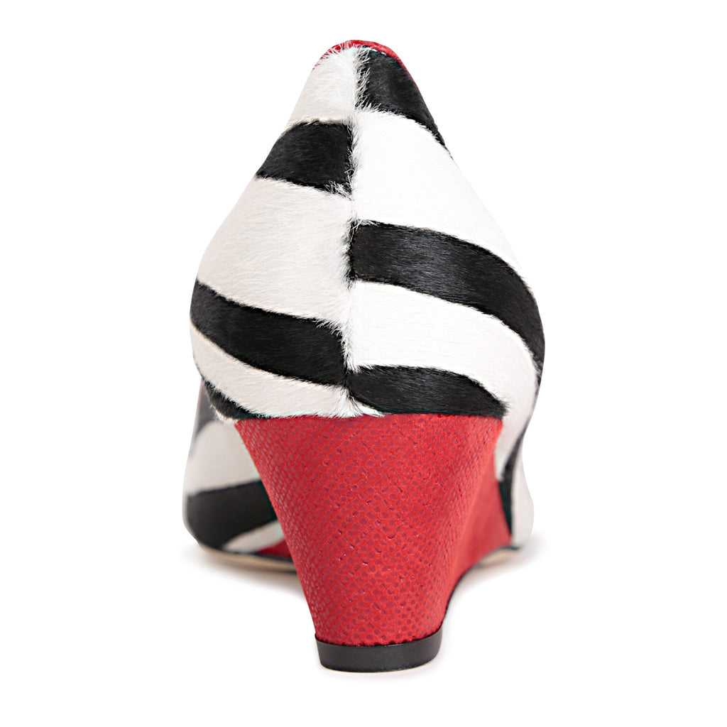 TRENTO - Calf Hair Zebra + Karung Rosso, VIAJIYU - Women's Hand Made Sustainable Luxury Shoes. Made in Italy. Made to Order.