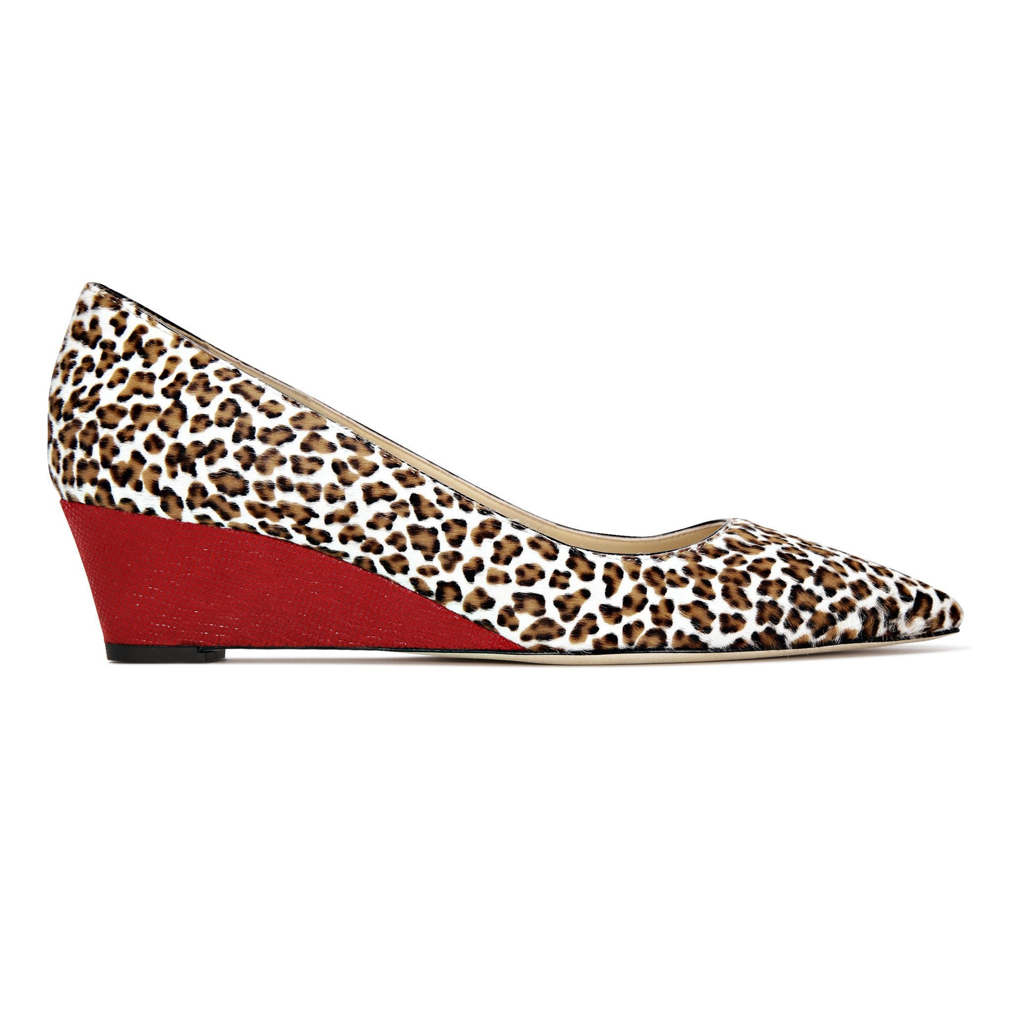 TRENTO - Calf Hair Mini Leopard + Karung Rosso, VIAJIYU - Women's Hand Made Sustainable Luxury Shoes. Made in Italy. Made to Order.
