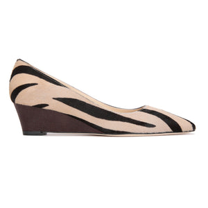TRENTO - Calf Hair Cafe Zebra + Karung Espresso, VIAJIYU - Women's Hand Made Sustainable Luxury Shoes. Made in Italy. Made to Order.