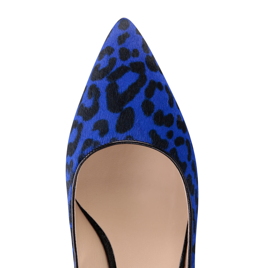 TRENTO - Calf Hair Blue Jaguar + Hydra Nero, VIAJIYU - Women's Hand Made Sustainable Luxury Shoes. Made in Italy. Made to Order.